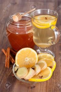 Hot ginger lemon tea and honey